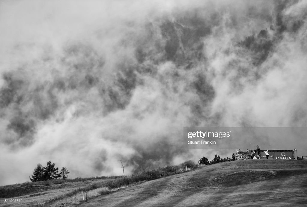 Matthew Fitzpatrick of England plays a shot on the seventh hole during the third round of the Omega European Masters at Crans-sur-Sierre Golf Club on September 9, 2017 in Crans-Montana, Switzerland.