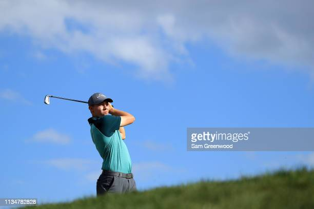 Matthew Fitzpatrick of England plays his shot from the 14th tee during the third round of the Arnold Palmer Invitational Presented by Mastercard at...