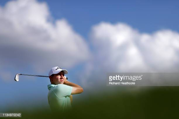 Matthew Fitzpatrick of England plays his shot from the 14th tee during the final round of the Arnold Palmer Invitational Presented by Mastercard at...
