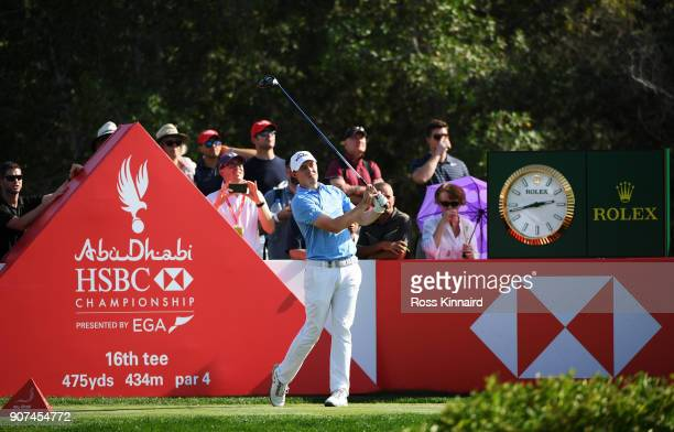 Matthew Fitzpatrick of England plays his shot from the 16th tee during round three of the Abu Dhabi HSBC Golf Championship at Abu Dhabi Golf Club on...