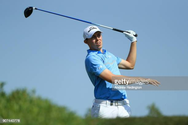 Matthew Fitzpatrick of England plays his shot from the third tee during round three of the Abu Dhabi HSBC Golf Championship at Abu Dhabi Golf Club on...