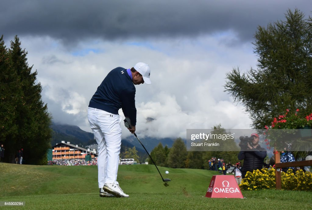 Matthew Fitzpatrick of England plays his tee shot on the 18th hole during the final round of the Omega European Masters at Crans-sur-Sierre Golf Club on September 10, 2017 in Crans-Montana, Switzerland.