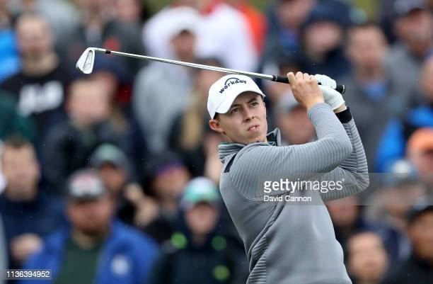 Matthew Fitzpatrick of England plays his tee shot on the par 3 third hole during the final round of The Players Championship on the Stadium Course at...
