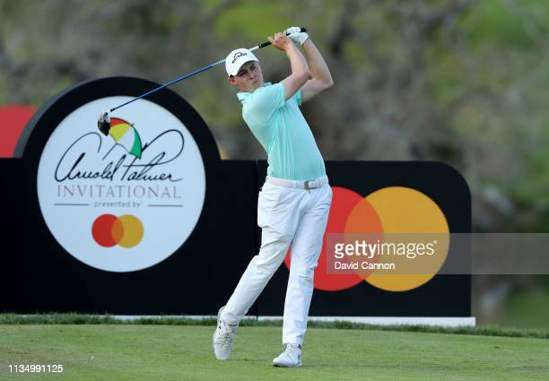 Matthew Fitzpatrick of England plays his tee shot on the par 5 16th hole during the final round of the 2019 Arnold Palmer Invitational at the Arnold...