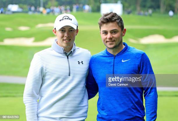 Matthew Fitzpatrick of England poses with his brother Alex Fitzpatrick a plus four handicap during the proam for the 2018 BMW PGA Championship on the...
