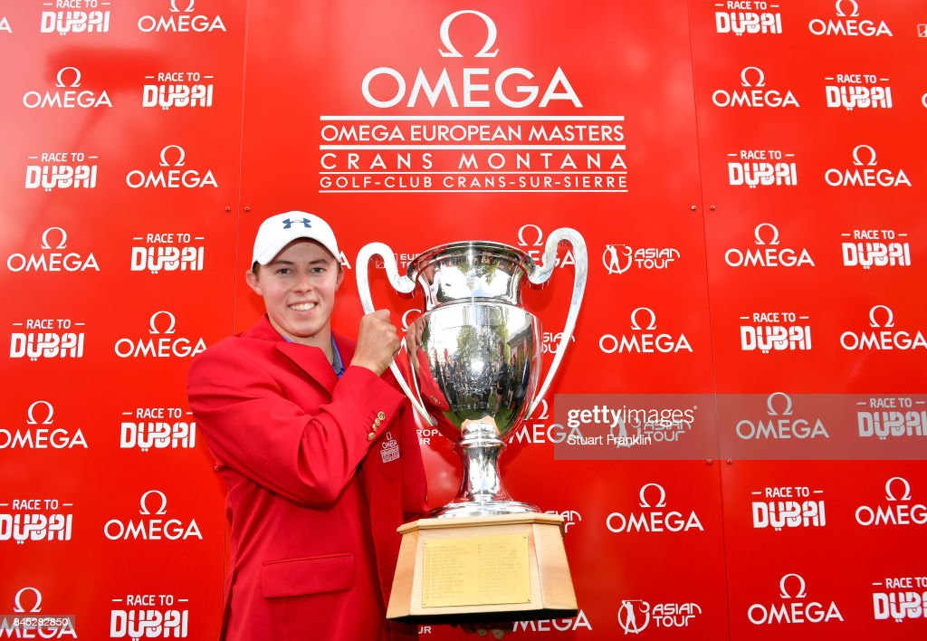 Matthew Fitzpatrick of England poses with the trophy after Day Five of the Omega European Masters at Crans-sur-Sierre Golf Club on September 10, 2017 in Crans-Montana, Switzerland.