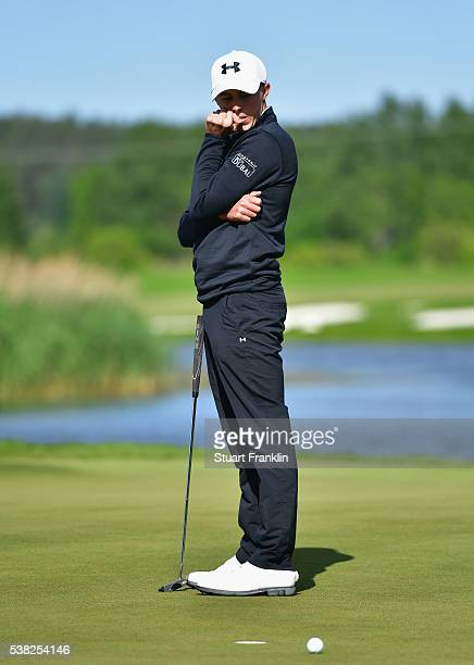 Matthew Fitzpatrick of England reacts to a missed putt on the 13th green during the final round on day four of the Nordea Masters at Bro Hof Slott...