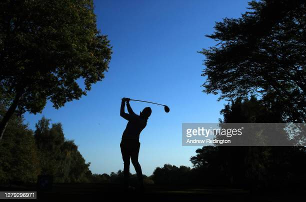 Matthew Fitzpatrick of England tees off on the 17th hole during Day 2 of the BMW PGA Championship at Wentworth Golf Club on October 09, 2020 in...