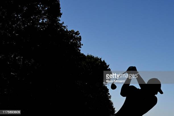Matthew Fitzpatrick of England tees off the 4th hole during Day Two of the BMW PGA Championship at Wentworth Golf Club on September 20 2019 in...