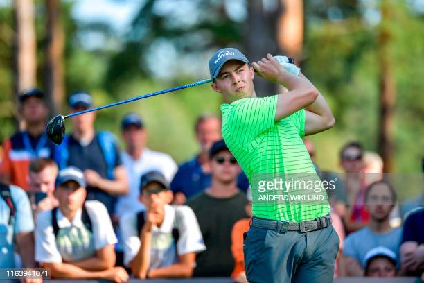 Matthew Fitzpatrick of England tees out on ball 36 during the PGA European Tour golf tournament Scandinavian Invitation in Molndal Sweden on August...