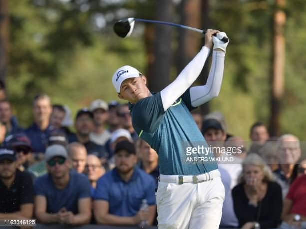 Matthew Fitzpatrick of England tees out on the 14th hole during the PGA European Tour golf tournament Scandinavian Invitation in Molndal Sweden on...