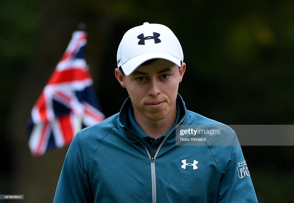 Matthew Fitzpatrick of England walks off of the 18th green during the first round of the British Masters at Woburn Golf Club on October 8, 2015 in Woburn, England.