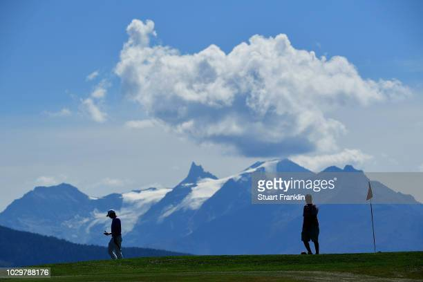 Matthew Fitzpatrick of England walks off the 7th green during day four of The Omega European Masters at CranssurSierre Golf Club on September 9 2018...