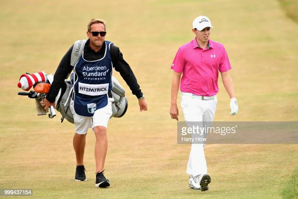 Matthew Fitzpatrick of England walks up the fairway on hole one during day four of the Aberdeen Standard Investments Scottish Open at Gullane Golf...