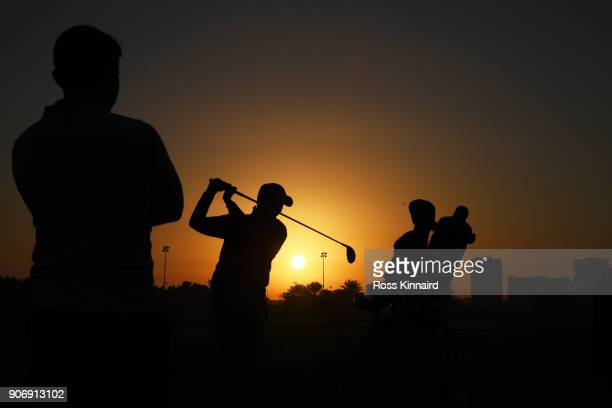 Matthew Fitzpatrick of England warms up on the range prior to round two of the Abu Dhabi HSBC Golf Championship at Abu Dhabi Golf Club on January 19,...
