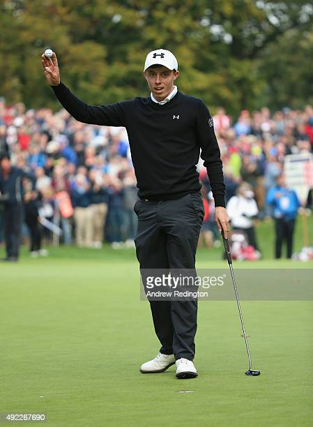 Matthew Fitzpatrick of England waves to the crowd after his birdie on the 17th hole during the final round of the British Masters supported by Sky...