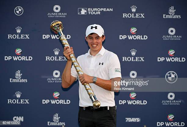 Matthew Fitzpatrick of England with the DP World Tour Championship Trophy after the final round of the DP World Tour Championship at Jumeirah Golf...