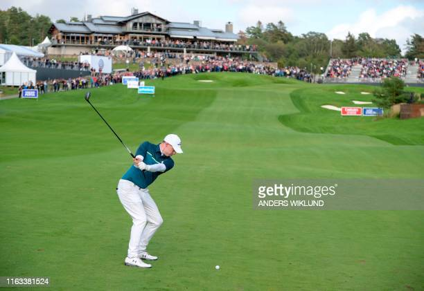 Matthew Fitzpatrikc of England plays on the 18th hole during the PGA European Tour golf tournament Scandinavian Invitation in Molndal Sweden on...