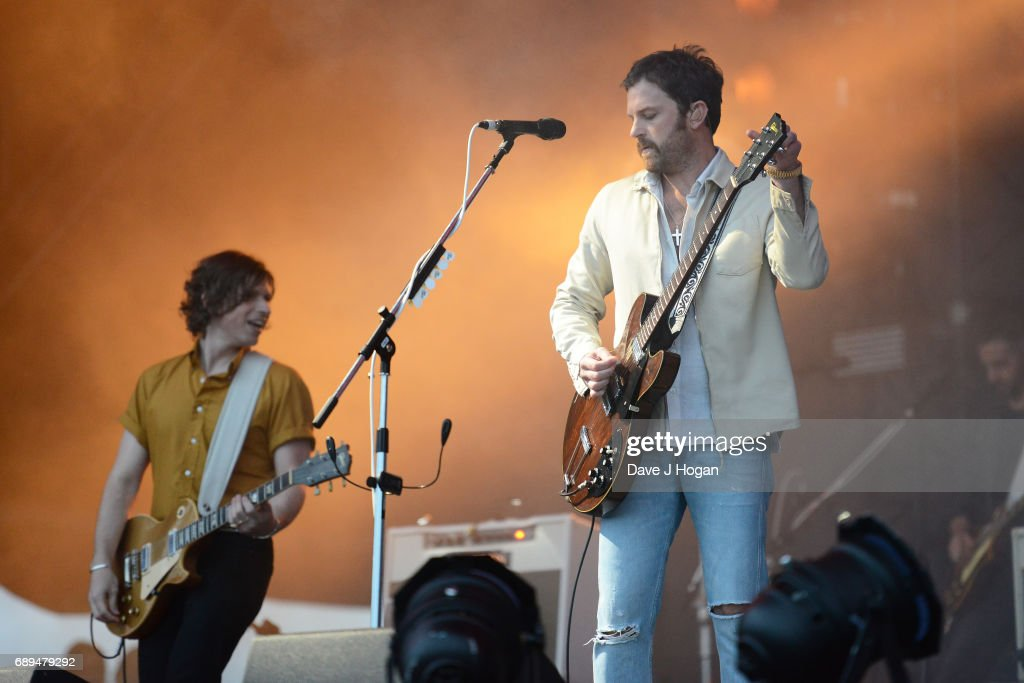 Matthew Followill and Caleb Followill of the band Kings of Leon attend Day 2 of BBC Radio 1's Big Weekend 2017 at Burton Constable Hall on May 28, 2017 in Hull, United Kingdom.