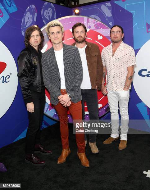 Matthew Followill Jared Followill Caleb Followill and Nathan Followill of music group Kings Of Leon attend the 2017 iHeartRadio Music Festival at...