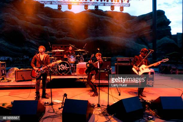 Matthew Followill Nathan Followill Caleb Followill and Jared Followill performs with 'The Kings of Leon' at the Red Rocks Amplitaheater in Morrison...