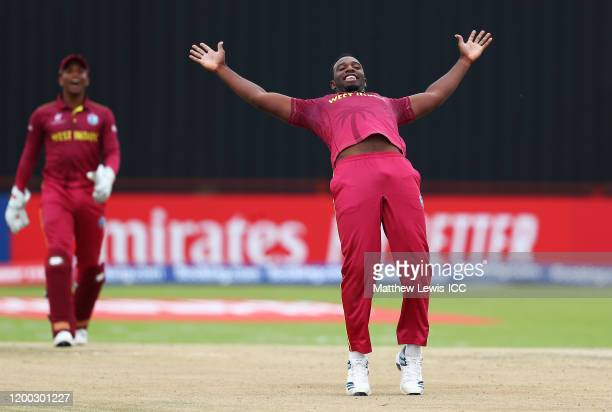 Matthew Forde of West Indies celebrates the wicket of Corey Kelly of Australia during the ICC U19 Cricket World Cup Group B match between Australia...