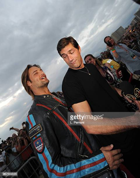 Matthew Fox and Josh Holloway arrives at the LOST Sunset On The Beach screening and the LOST Beginning Of The End party on January 30 2010 in...