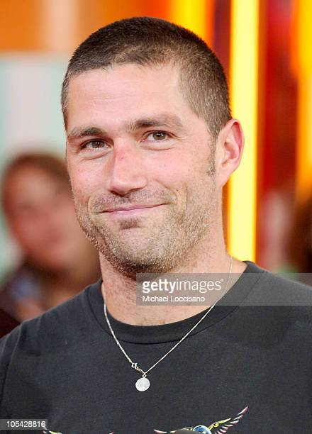 Matthew Fox during Jimmy Kimmel and Matthew Fox Visit MTV's 'TRL' May 16 2005 at MTV Studios Times Square in New York City New York United States