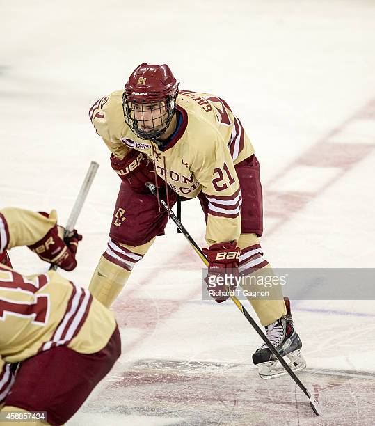 Matthew Gaudreau of the Boston College Eagles skates against the Harvard Crimson during NCAA hockey at Kelley Rink on November 11, 2014 in Chestnut...
