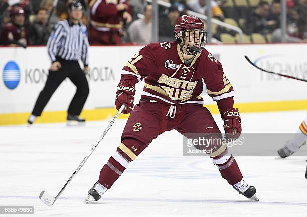 Matthew Gaudreau of the Boston College Eagles skates in the third period during the consolation game of the Three Rivers Classic hockey tournament at...