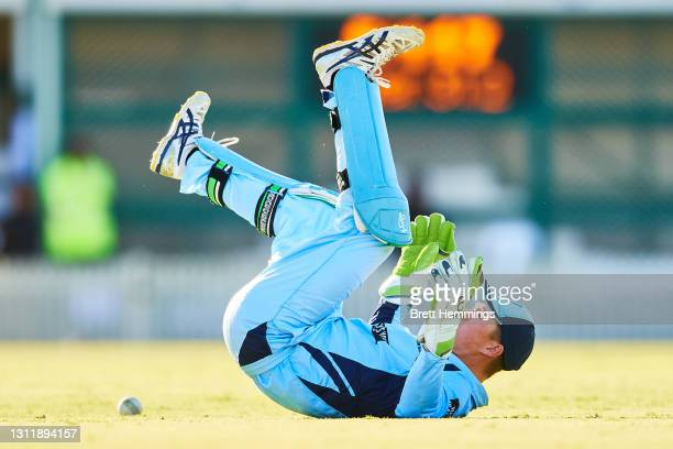 Matthew Gilkes of NSW fields the ball during the 2021 Marsh One Day Cup Final match between New South Wales and Western Australia at Bankstown Oval...