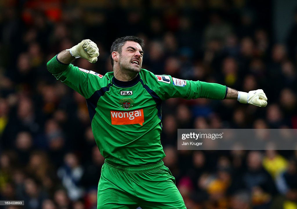 Matthew Gilks, Goalkeeper of Blackpool celebrates the equalizer by Thomas Ince during the npower Champions match between Watford and Blackpool at Vicarage Road on March 9, 2013 in Watford, England.