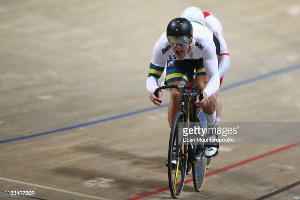 Matthew Glaetzer of Australia and Mateusz Rudyk of Poland compete in the Men's sprint bronze medal race race on day five of the UCI Track Cycling...