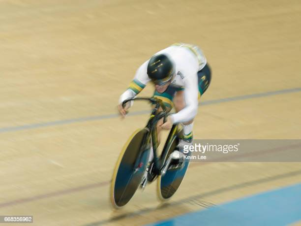 Matthew Glaetzer of Australia competes in Men's Sprint Qualifying on Day 3 in 2017 UCI Track Cycling World Championships at Hong Kong Velodrome on...