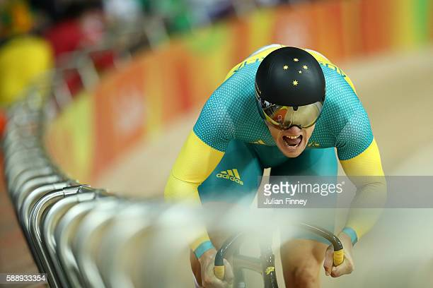 Matthew Glaetzer of Australia competes in the Men's Sprint Qualifying on Day 7 of the Rio 2016 Olympic Games at the Rio Olympic Velodrome on August...