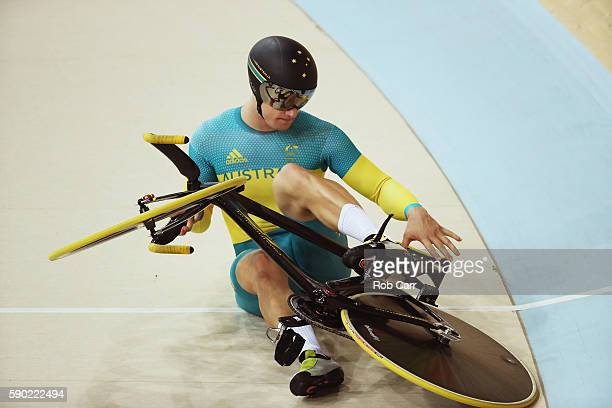 Matthew Glaetzer of Australia crashes around a turn during the Men's Keirin Finals race on Day 11 of the Rio 2016 Olympic Games at the Rio Olympic...