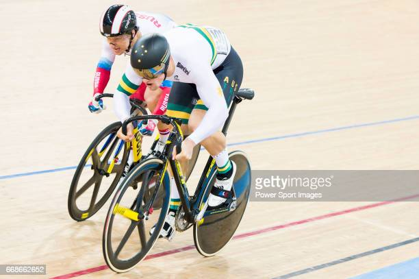 Matthew Glaetzer of the Australia team and Pavel Yakushevskiy of the Russia team compete in the Men's Sprint 1/8 Finals as part of the Men's Sprint...