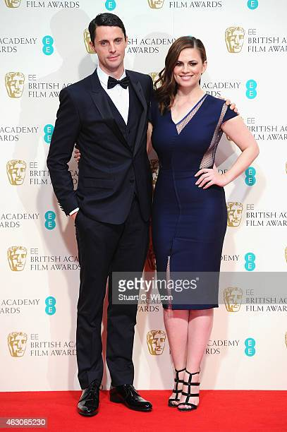 Matthew Goode and Hayley Atwell poses in the winners room at the EE British Academy Film Awards at The Royal Opera House on February 8 2015 in London...