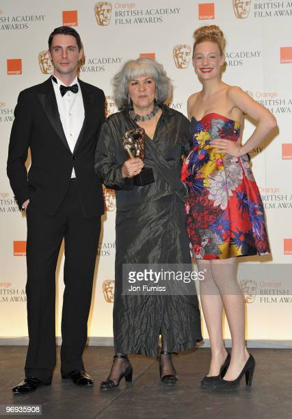 Matthew Goode and Romola Garai pose with winner Jenny Shircore for Hair Make Up for the film The Young Victoria during Orange British Academy Film...