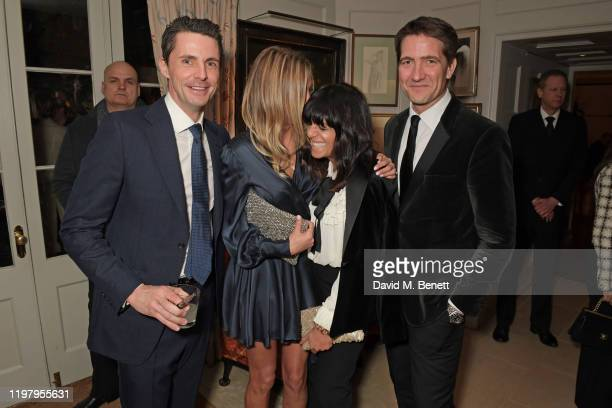 Matthew Goode, Sophie Dymoke, Claudia Winkleman and Kris Thykier attend the Charles Finch & CHANEL Pre-BAFTA Party at 5 Hertford Street on February...