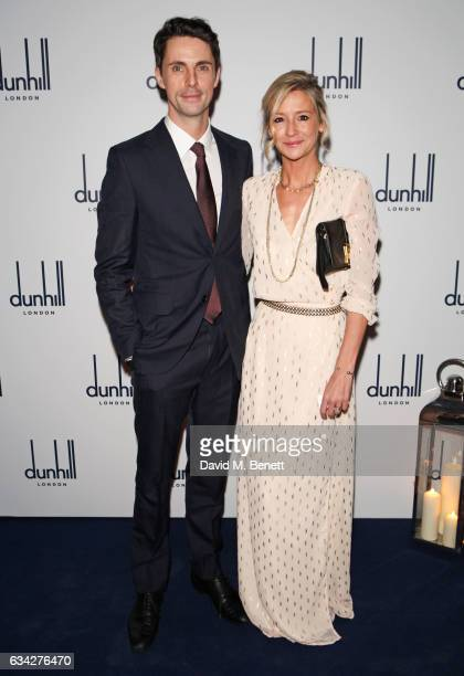 Matthew Goode wearing dunhill and Sophie Dymoke attend the dunhill and Dylan Jones preBAFTA dinner and cocktail reception celebrating Gentlemen in...