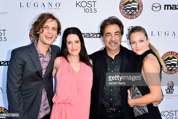 Matthew Grat Gubler Paget Brewster Joe Mantegna and AJ Cook attend the Festival of Arts Celebrity Benefit Concert and Pageant on August 23 2014 in...