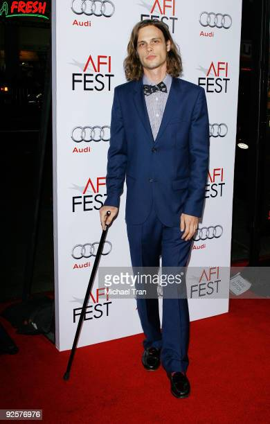 Matthew Gray Gubler arrives to the 2009 AFI Festival opening night featuring Fantastic Mr Fox held at Grauman's Chinese Theatre on October 30 2009 in...