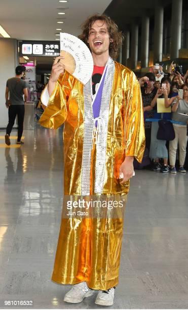 Matthew Gray Gubler is seen wearing cosplay kimono gown upon arrival at Narita International Airport on June 22 2018 in Narita Japan