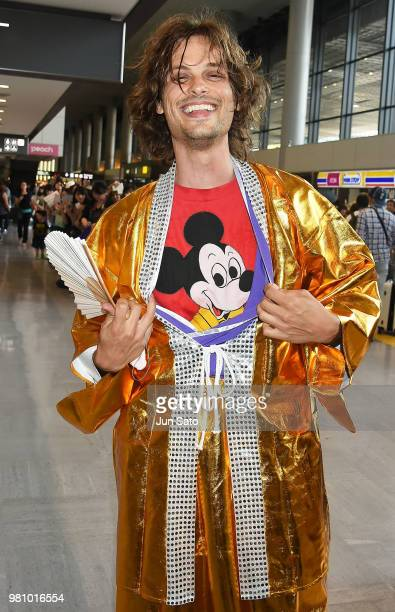 Matthew Gray Gubler is seen wearing cosplay kimono gown upon arrival at Narita International Airport on June 22 2018 in Narita Japan