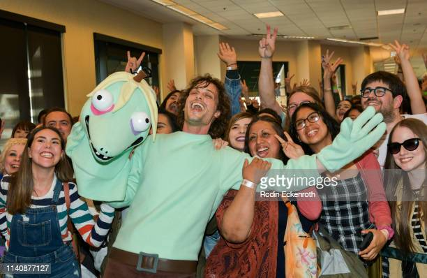 """Matthew Gray Gubler poses for a selfie with fans during celebration of his new book """"Rumple Buttercup: A Story of Bananas, Belonging, and Being..."""
