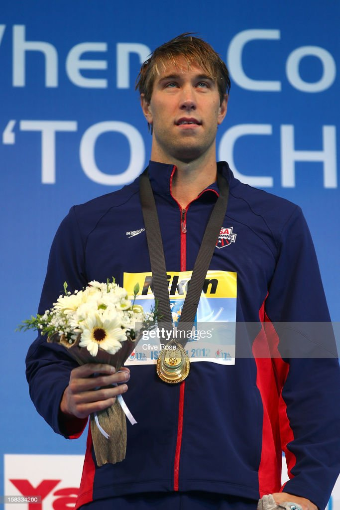 Matthew Greavers of USA poses with his Gold medal after winning the Men's 100m Backstroke Final during day two of the 11th FINA Short Course World Championships at the Sinan Erdem Dome on December 13, 2012 in Istanbul, Turkey.