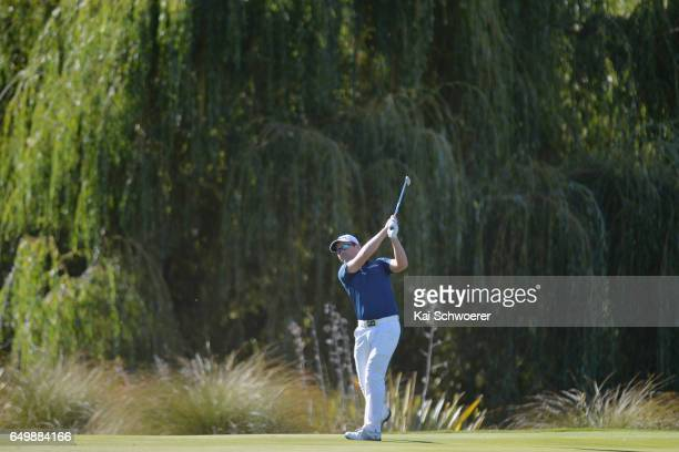 Matthew Griffin of Australia plays a shot during day one of the New Zealand Open at The Hills on March 9 2017 in Queenstown New Zealand