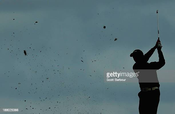 Matthew Griffin of Australia plays an approach shot on the 10th hole during round two of the 2013 Australian Masters at Royal Melbourne Golf Course...