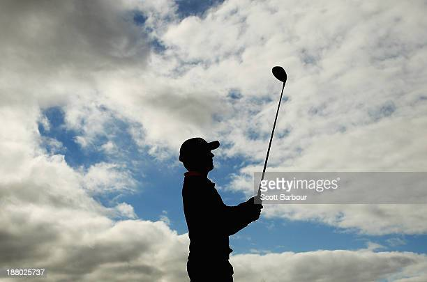 Matthew Griffin of Australia plays an approach shot on the 16th hole during round two of the 2013 Australian Masters at Royal Melbourne Golf Course...